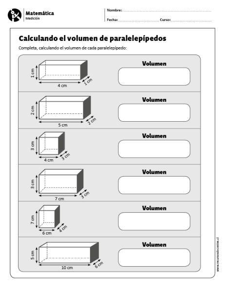 Calculando El Volumen De Paralelepipedos Actividades De