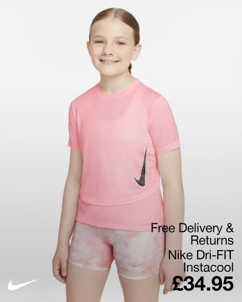 Keeping cool is easy in the Nike Dri-FIT Instacool Top.This super-breathable active style has a layered look and is 100% made for play.Bonus tip: Watch the Swoosh magically change colour when your body heats up.Playtime outside under the sun just got more fun. Super Airy Nike Dri-FIT Technology moves sweat away from your skin for quicker evaporation, helping you stay dry and comfortable. Magical Swoosh The Swoosh gets activated and changes colour when exposed to sun and UV light.