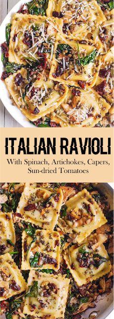ITALIAN RAVIOLI WITH SPINACH, ARTICHOKES, CAPERS, SUN-DRIED TOMATOES #italianfood #pasta #ravioli