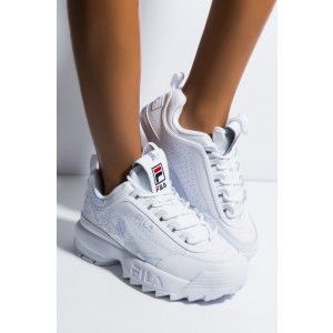 FILA Faux Leather Side Zipper Embroidered Logo Chunky Sole