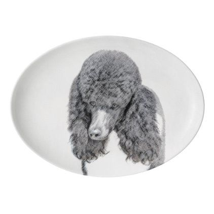 Standard Poodle Black Parti Painting Dog Art Porcelain Serving Platter Zazzle Com In 2020 Dog Grooming Business Dog Art Animal Photography
