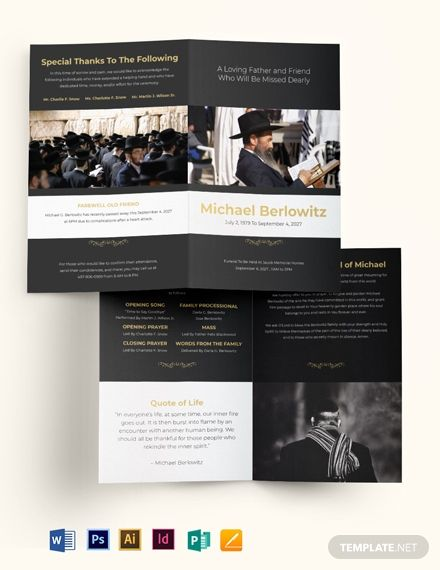 Jewish Eulogy Funeral Bi Fold Brochure Template Word Doc Psd Indesign Apple Mac Pages Illustrator Publisher Bi Fold Brochure Brochure Template Brochure
