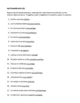 Indirect Object Pronouns In Spanish Worksheet With Images