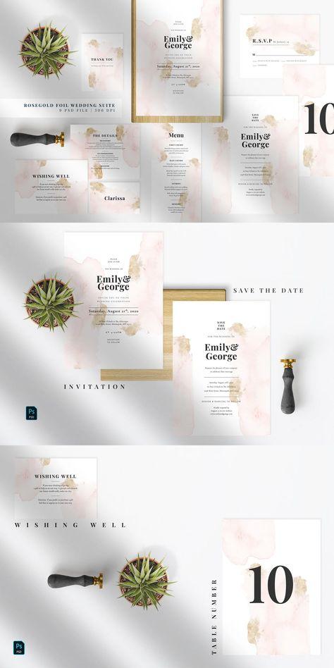 Rose Gold Foil Wedding Suite Template PSD
