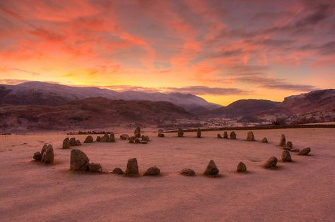 The stone circle at Castlerigg (alt. Keswick Carles, Carles, Carsles or Castle-rig) is situated near Keswick in Cumbria, North West England.  It was constructed as a part of a megalithic tradition that lasted from 3,300 to 900 BCE, during the Late Neolithic and Early Bronze Ages.