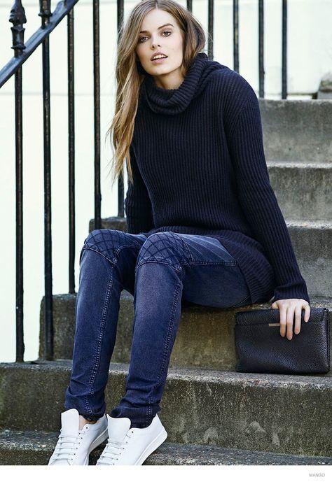sport Mango Violetas Fall 2014 Catalogue - jeans + jersey negro + bambas blancas