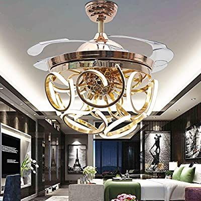 Rs Lighting Beautiful Art Round Acrylic Lamp Belt Chandelier Invisible Ceiling Fan 42 Inch Bedroom Ceiling Fan Light Ceiling Fan Bedroom Ceiling Fan Chandelier