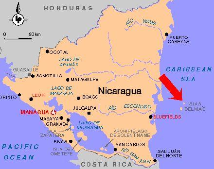 Mapa de Nicaragua que fabuloso  Nicaragua Lagos volcanes y