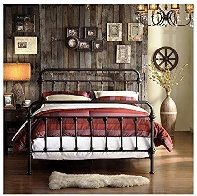Amazon Com Tribecca Home Wrought Iron Bed Frame Dark Bronze Metal Queen Size Usa Vintage Loo Bed Frame And Headboard Wrought Iron Beds Headboard And Footboard
