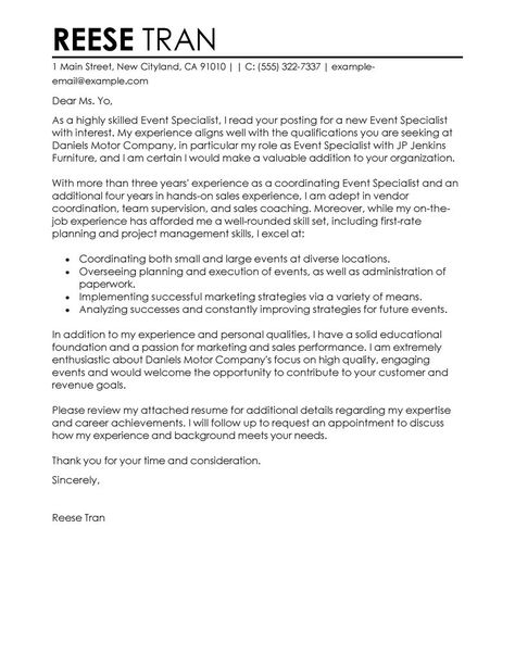 best event specialist cover letter examples livecareer create