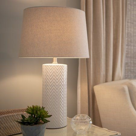 Mainstays White Ceramic Lamp Base Walmart Com White Ceramic Lamps Ceramic Lamp Base Ceramic Lamp
