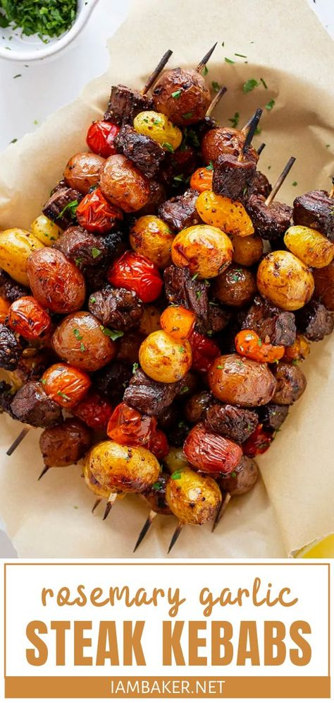 Rosemary Garlic Steak Kebabs Rosemary Garlic Steak Kebabs,A-special recipes A favorite grilling recipe you can enjoy this summer! Rosemary Garlic Steak Kebabs are a huge hit with the entire family. Tender and juicy steak,. Steak Skewers, Kebabs On The Grill, Beef Recipes, Cooking Recipes, Grilled Potato Recipes, Healthy Steak Recipes, Grilled Food, Kebab Recipes, Recipies