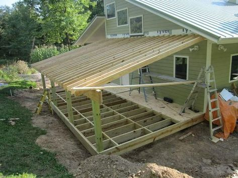 Nice Roof Under Deck - Framing Addition Shed Roof House