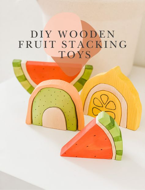 Sharing how I created these wooden fruit stacking toys! They're currently our fave thing to play with right now and I can't wait to make many many more! Toddler Toys, Baby Toys, Baby Play, Diy Sensory Board, Stacking Toys, Diy Holz, Montessori Toys, Diy For Kids, Diy Wooden Toys For Toddlers