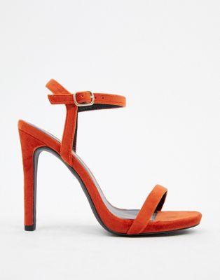 ae57c8c47b3 New Look velvet heeled sandal in orange in 2019 | Things to buy ...