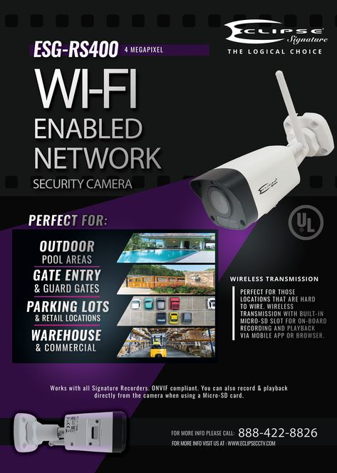 Eclipse Signature ESG-RS400 4 Megapixel HD Wi-Fi enabled Network Camera – Eclipse Security