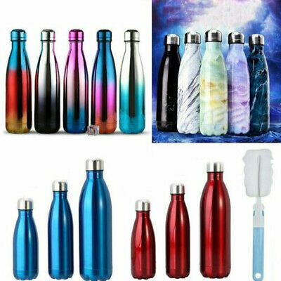 350-1000ml Stainless Steel Water Bottle Vacuum Insulated Chilly Gym Drink Flask~