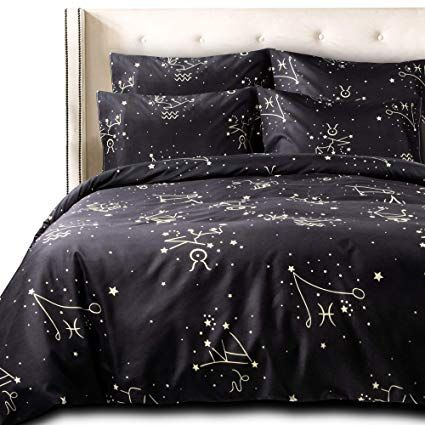 Ntbay 3 Pieces Duvet Cover Set Brushed Microfiber Constellation