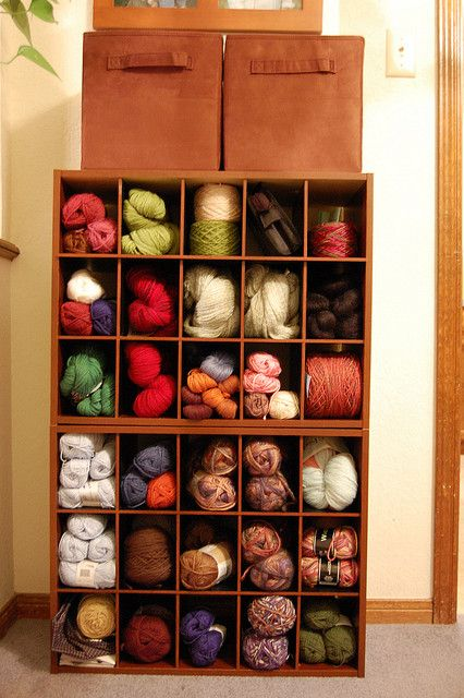 A great idea for yarn storage! Two ClosetMaid 15 Cube Organizers and fabric drawers. Available at ClosetMaid.com. #CraftRoom #Storage