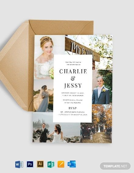 Photo Collage Wedding Invitation Template Word Doc Psd Apple Mac Pages Illustrator Publisher Outlook Photo Collage Template Collage Template Invitation Design Template