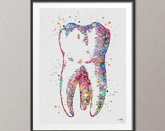 Dental X-RAY Watercolor Print Tooth Anatomy Teeth Dental Clinic Medical Art Gift
