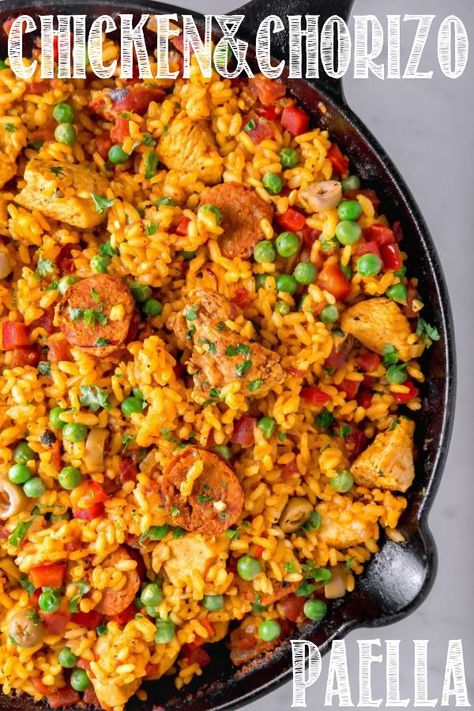 This Chicken & Chorizo Paella is made from scratch with a super flavorful base vegetables made in a skillet. This Chicken & Chorizo Paella is made from scratch with a super flavorful base vegetables made in a skillet. Tostadas, Quirky Cooking, Cooking Recipes, Healthy Recipes, Healthy Food, Sausage Recipes, Easy Chicken Recipes, Chicken Paella Recipe Easy, Empanadas