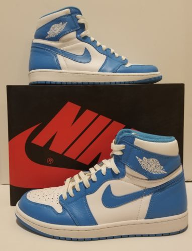 Nike Air Jordan 1 Retro High Og White Powder Blue Sz 10 Unc