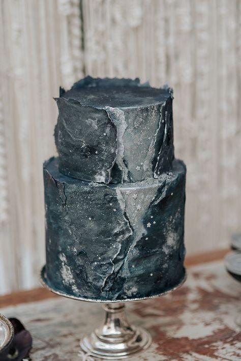 Celestial textured cake - Celestial styled shoot at East Bridgford Hill, Nottinghamshire