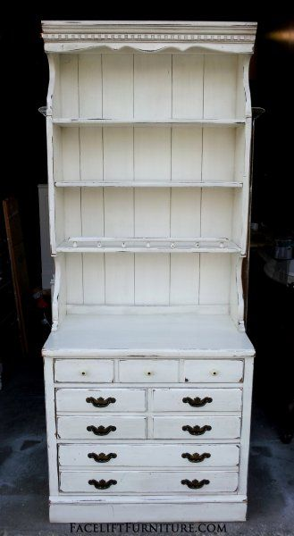Ethan Allen Pine Hutch In Distressed Antiqued White Original Pulls From Facelift Furniture S Hutches Cabinets Buffets Collection