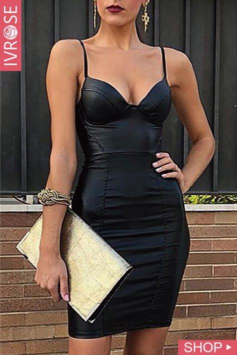 PU Solid Spaghrtti Strap Bodycon Dress