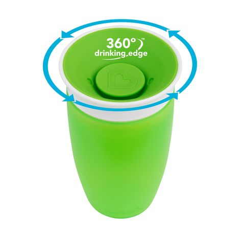 2 Count Munchkin Miracle 360 Sippy Cup Green//Blue 10 Ounce