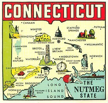 VINTAGE CONNECTICUT NUTMEG STATE MAP Maps Pinterest Vintage - Us map connecticut