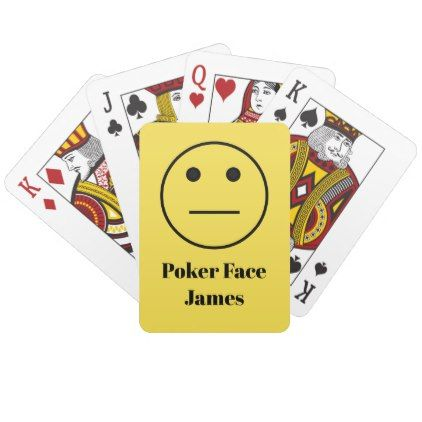 Funny Poker Face Emoji On Yellow Add Your Name Playing Cards Zazzle Com Cards Playing Cards Unique Birthday Gifts