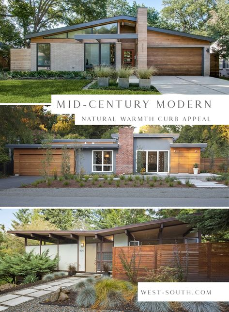 Mid-Century Modern Style Curb Appeal Ideas from West-South, Dark Neutral Grey Mid-Century Exterior Design Ideas home design modern