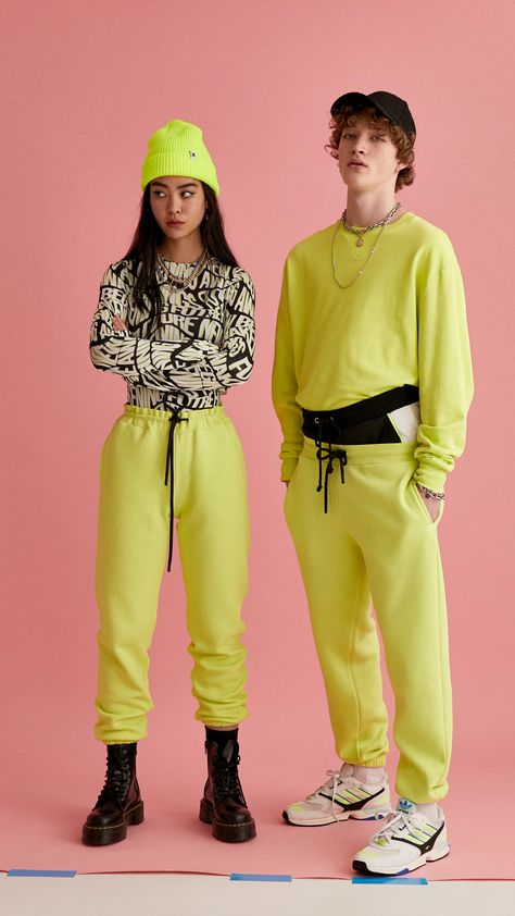 Unisex jogger in lime : Skirts & Trousers : Collusion nyc mens fashion