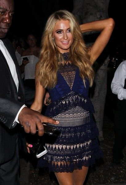 Socialite Paris Hilton is spotted leaving a party in West Hollywood.