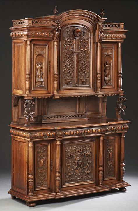 French Henry II Style Carved Walnut Buffet, 19th century