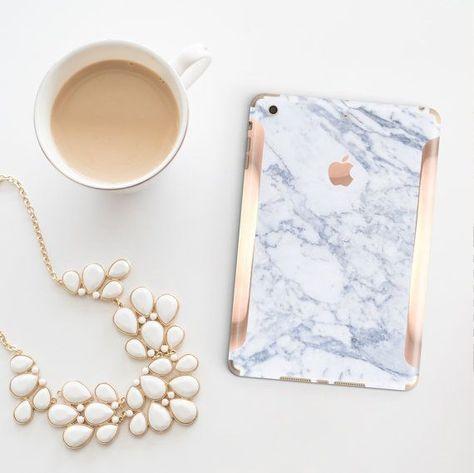 Platinum Edition Makrana White Marble with Rose Gold/Copper Detailing Vinyl Skin for the iPad Air 2,