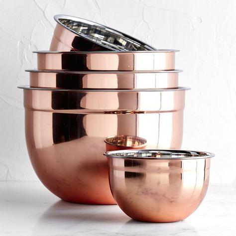 Copper Mixing Bowls Mutfak – home accessories Kitchen Supplies, Kitchen Items, Kitchen Utensils, Kitchen Gadgets, Kitchen Tools, Copper Kitchen Accessories, Copper Kitchen Decor, Black And Copper Kitchen, Kitchen Buffet
