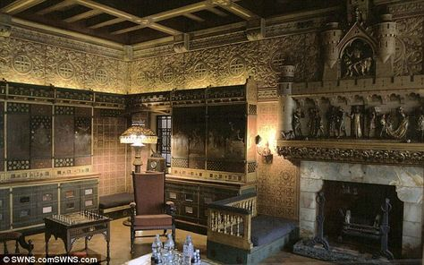 'Unblemished': Jimmy Page was desperate to protect his property, which includes this imposing fireplace below a medieval scene
