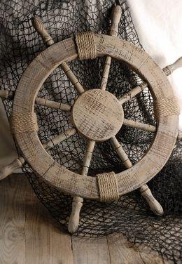 Ship Steering Wheel Wood 25in