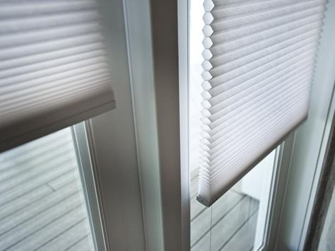 Honeycomb louver shades offer privacy and also control solar heat gain and UV damage to furnishings and artwork. HGTV Smart Home >> http://www.hgtv.com/smart-home/hgtv-smart-home-2013-dining-room-pictures/pictures/page-12.html?soc=pinterest