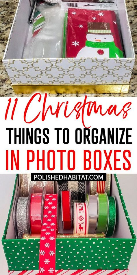Christmas Storage: Cheap photo boxes are the perfect way to organize your Christmas decor and supplies. This post has 11 ideas to get you started!