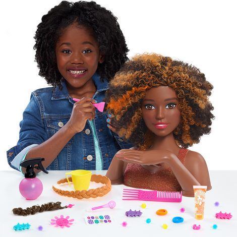 2018 Barbie Color Style Deluxe Styling Head Black Hair Aa African American Curly Orange Black Curly Hair Curly Hair Styles Curly Hair Styles Naturally