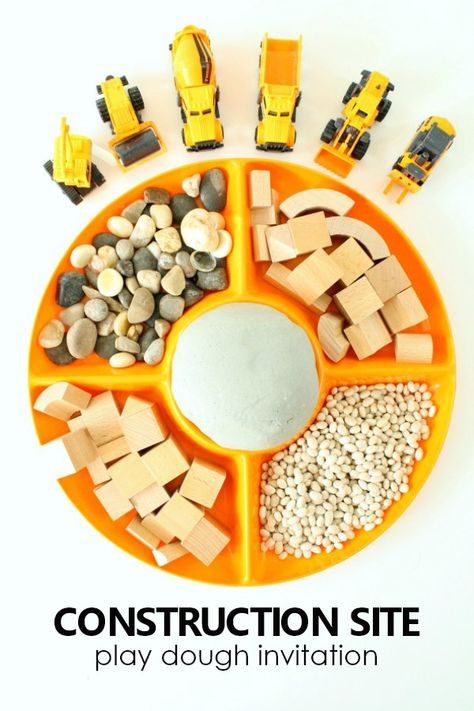 Construction Site Play Dough Invitation - Fantastic Fun & Learning