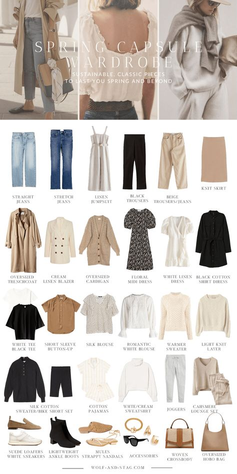 wardrobe The (Mostly) Sustainable Spring Capsule Wardrobe Wolf Stag Mode Capsule Mode inspo Spring Stag Sustainable Wardrobe Wolf Fashion 2020, Look Fashion, Spring Fashion, Classic Fashion Style, French Style Fashion, Fashion Clothes, Minimal Classic Style, Vintage Fashion, Jeans Fashion