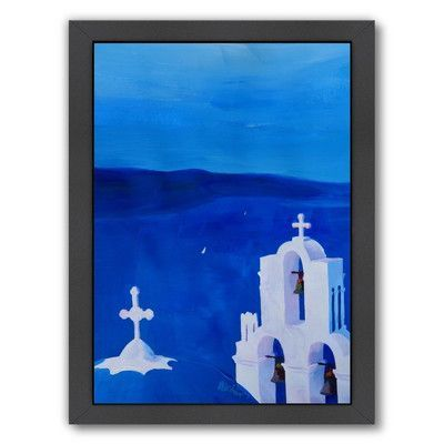 East Urban Home Enchanting Santorini Greece View Framed Painting