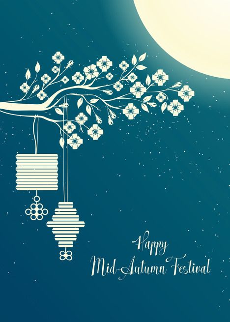Mid-Autumn Festival Lanterns and Moon card | Graphic design