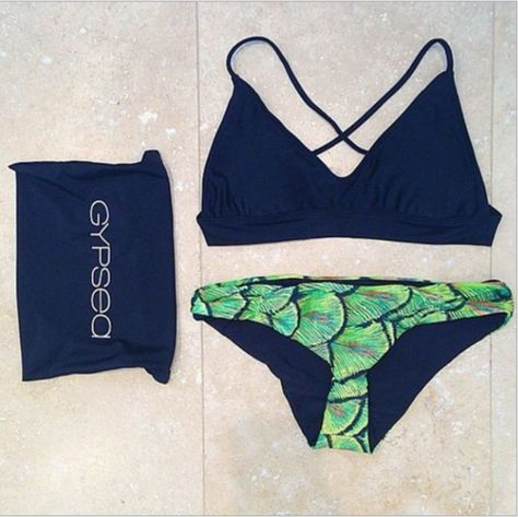 Beach Print Sexy  Bikini Set Swimsuit Swimwear