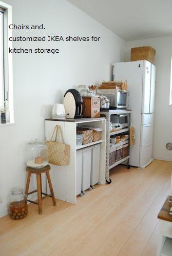 イケアの棚をカスタマイズ キッチンの背面収納作りました 食器棚